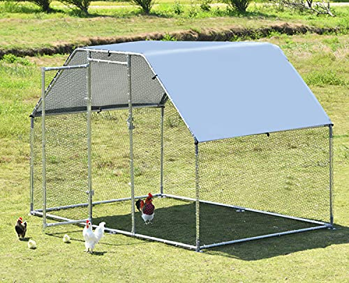Large Metal Chicken Coop, Hen Run Duck House Outdoor Yard Walk-in Poultry Cage, Rabbits Habitat Cage Spire Shaped Coop with UV & Waterproof Cover for Backyard Farm (9.2'L x 6.2'W x 6.4'H)