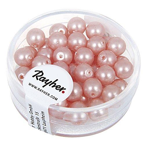 Rayher 14447258 Renaissance Glaswachsperlen, matt , 6 mm, Dose 45 Stück, rosé