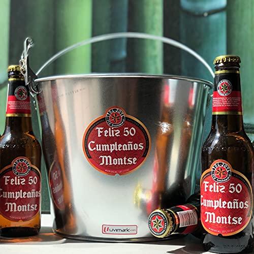Set de 6 cervezas personalizadas con cubo enfriador y abrebotellas, cervezas con...