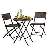Relaxdays 10020758_93 Set Tavolo e Sedie da Campeggio Bastian, Pieghevoli, 3 Pezzi, Rattan...