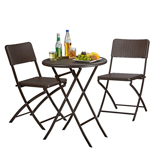 Relaxdays BASTIAN Garden Furniture Set, Foldable, 3-Pieces, Rattan-Look, HxWxD: 75.5 x 60 x 60 cm, Brown, 75.5 x 60 cm