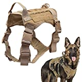 Tactical Dog Harness No Pull Military Dog Harness with Handle Working Dog Training Molle Vest Adjustable Training Vest Service Dog Vest Hook and Loop Panels (Brown L)