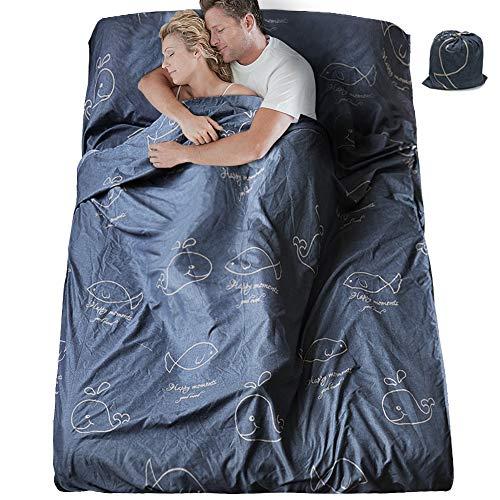 SueH Design Schlafsack mit Doppeltem Schlafsack, 230 x 180 cm, Lang und Leicht für Erwachsene, Hotel, Hostel, Motel und Outdoor Sommerschlafsack mit Reißverschluss, Walmalerei
