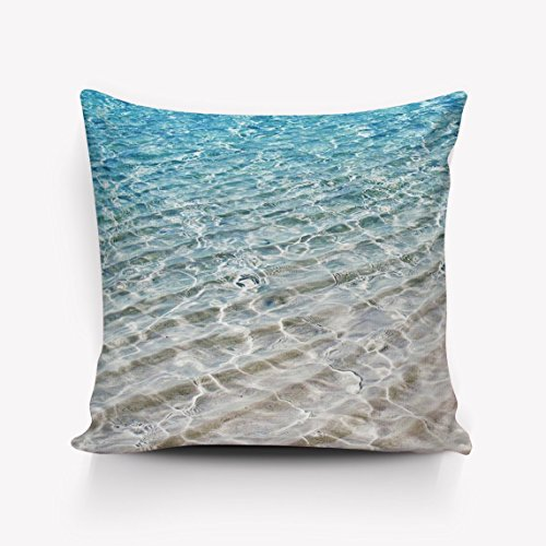 N\A Weiche quadratische Kissenbezüge Netter Strand gewelltes Meerwasser Home Dekorative Baumwolle Leinen Überwurf Kissenbezüge Fall Kissenbezug Dekor für Couch Bed Chair