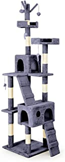 Taily Cat Tree Trees Scratching Post Scratcher Tower Condo House Bed 200CM Grey