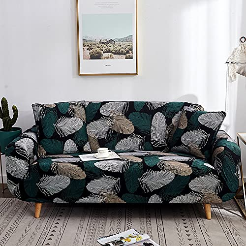 LWKXMF Blatt-Stil-Muster-elastisches Sofa-Abdeckung, einschließlich 1pc-Sofaabdeckung, 2pc-Kissenbezug, mit elastischem Boden, leicht zu ersetzen, Möbelstaubschutz, für Wohnzimmerkinder, Pet-Schutzkis