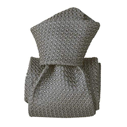 Segni et Disegni. Cravate grenadine de soie. Premium, Soie. Gris, Uni. Fabriqué en Italie.