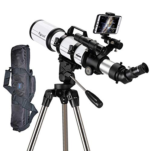 WW&C Telescope for Adults Astronomy Beginners Refractor Telescopes with Adjustable Tripod, Portable Astronomical Travel Telescope,80az