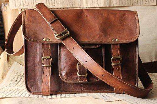 Handmadecraft 15 inch Vintage Crossbody Genuine Leather Laptop Messenger Bag