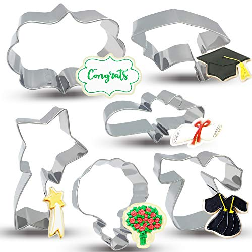 Bonropin Graduation Cookie Cutters Set - 6 Piece Stainless Steel Graduation cap, Gown, Diploma, Bouquet, Shooting Star, Plaque Frame Cutters Mold for Making Pastry Cake Fondant Pancake
