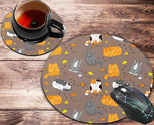 Round Mouse Pad and Coasters Set, Cat Pattern Mousepad, Anti Slip Rubber Round Mousepads Desktop Notebook Mouse Mat for Working and Gaming