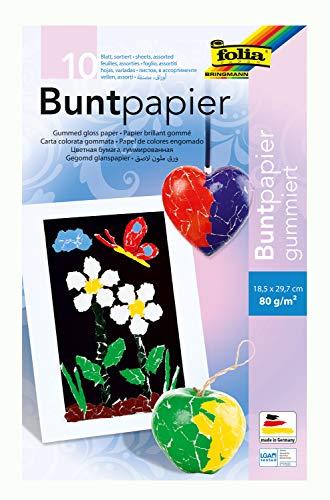 folia 750 - Mappe mit farbig sortiertem Buntpapier, gummiert, 10 Blatt, 80 g/qm, ca. 18,5 x 29,7 cm, ideal für vielfältige Bastelarbeiten