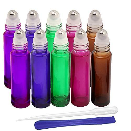 JHD - 10 botellas rellenables de cristal con bola para aceites esenciales, aromaterapia y fragancias, con abridor para las botellas y pipeta, ideal para uso doméstico y de viaje, 10 ml, 5 colores