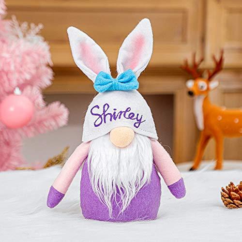 JSBVM Conejito de Pascua Gnomo Elfo Sueco Felpa Conejo Estatuilla Artesana Primavera Decoracin del hogar Adornos,B
