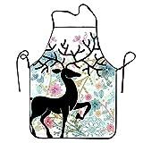 Eastlif Delantales Delantal de Ciervo Negro para Cocina BBQ Barbacoa Cocina Jardinería Impermeable Durable y Gran Regalo Traje para Hombres Mujeres Diseño Creativo Babero