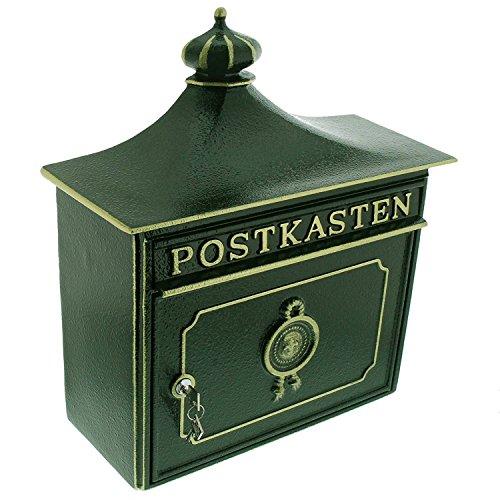 Burg-Wächter Alu-Guss-Briefkasten mit Komfort-Tiefe, A4 Einwurf-Format, Bordeaux 1895 GR, Grün