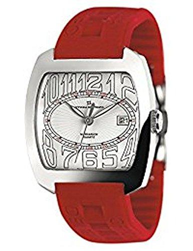 Reloj Officina del Tempo Caballero Caucho Rojo y Esfera Blanca W.R. 50 m