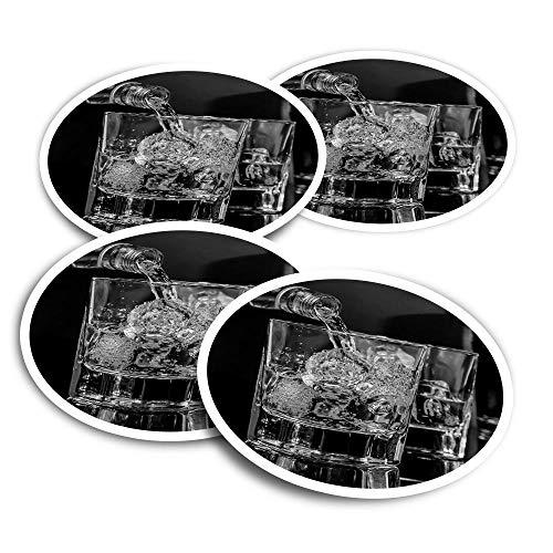 Pegatinas de vinilo (juego de 4) 10 cm – BW – Vasos de whisky bebida whisky alcohol divertidos calcomanías para ordenadores portátiles, tabletas, equipaje, reserva de chatarra #37122