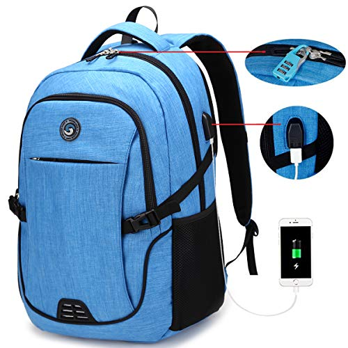 SOLDIERKNIFE Durable Waterproof Anti Theft Laptop Backpack Travel Backpacks Bookbag with usb Charging Port for Women & Men School College Students Backpack Fits 15.6 Inch Laptop Sky Blue