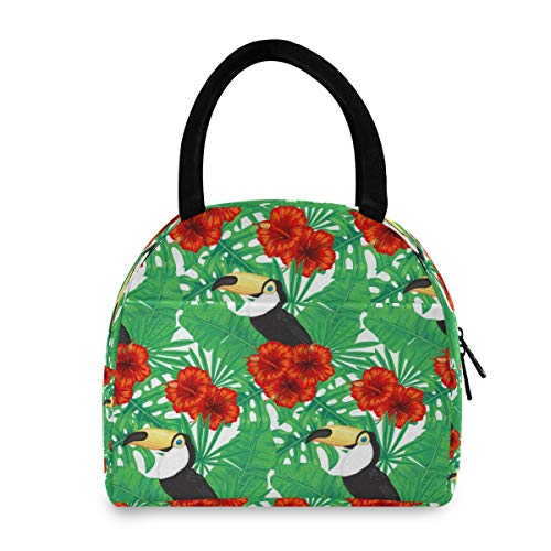 XXNO - Bolsa de almuerzo con hojas de tucán para pájaros y flores, aislada, a prueba de fugas, bolsa de almuerzo, organizador para mujeres y hombres, trabajo, picnic, playa