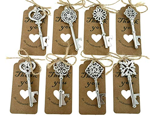 80pcs Skeleton Key Bottle Opener Wedding Party Favor Souvenir Gift with Escort Tag and Jute RopeSilver Tone8 styles