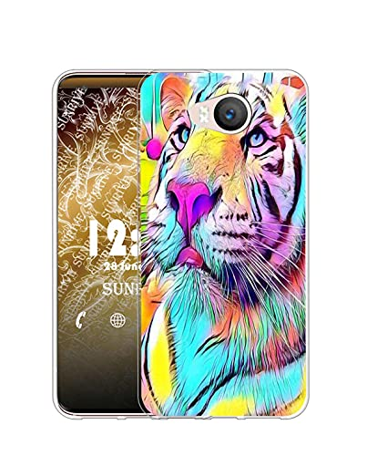 Sunrive Kompatibel mit Elephone P9000 Lite Hülle Silikon, Transparent Handyhülle Schutzhülle Etui Hülle (Q Farbiger Tiger)+Gratis Universal Eingabestift MEHRWEG