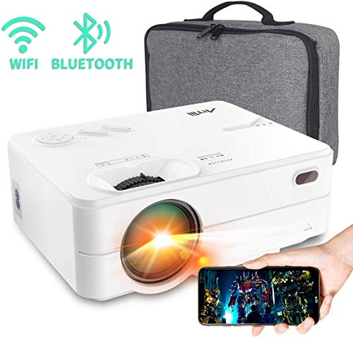 """Mini Projector - Artlii Enjoy 2 HD WiFi Bluetooth Projector, 5000L 300"""" Display, Compatible with TV Stick, HDMI, iPhone, Android for Home Theater, Video Games"""