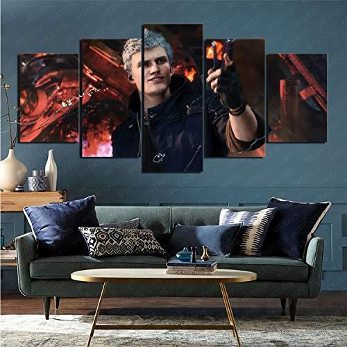 mmkow Póster de pared de 5 piezas de videojuego Devil May Cry 5 enmarcado arte habitación decoración del hogar 50 x 100 cm (enmarcado)
