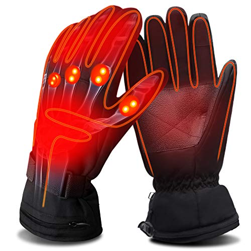 QILOVE Electric Heated Gloves,Hand Warmer with Rechargeable Batteries,Winter Extra Warm Heat Touchscreen NoveltyGloves Kit,Hiking Motorcycling Skiing Cold Weather Must-Have Heating Gloves