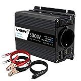 LVYUAN 500W Wechselrichter DC 12 V auf 230V AC Spannungswandler Auto Konverter 12 V mit Dual USB Ports und EU-Steckdosen Kfz-Ladegerät-Adapter