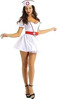 Aislor Femmes Lingerie Infirmière Uniforme d'infirmière Tentation Sexy Ensemble Carnaval Halloween Jeu de Rôle Babydoll Nu...