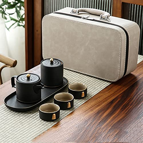 Juego De Té De Cerámica Kung Fu, con Bolsa De Almacenamiento, 3 Tazas De Té Adecuadas para El Hogar, Viajes, Fiesta, Oficina,Azul,A