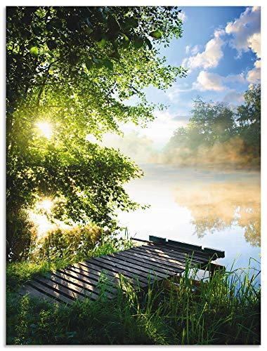 Artland Wandbild Alu für Innen & Outdoor Metall Bild 90x120 cm Natur Landschaft Wald Baum See Steg Sommer Sonne Gräser T0WD