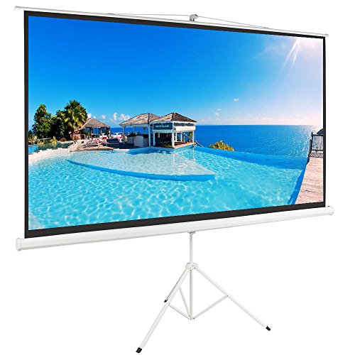 "ShowMaven 100"" 16:9 HD Adjustable Tripod Projector Projection Screen Portable Pull Up Foldable Stand"