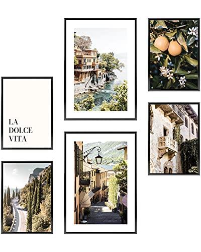 Heimlich® Tableau Décoration Murale - sans Cadres -Set de Poster Premium pour la Maison, Bureau, Salon, Chambre, Cuisine 2 x A3 & 4 x A4-30x42 & 21x30 | » Italie Orange Sea «