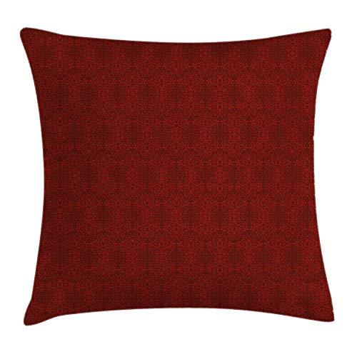 Bourgondische kussensloop met sierkussen, ingewikkelde veermotieven, abstracte artistieke stijl, bloeiende takken, bloemknoppen, decoratieve vierkante kussensloop, 18 x 18 inch, bordeaux rood