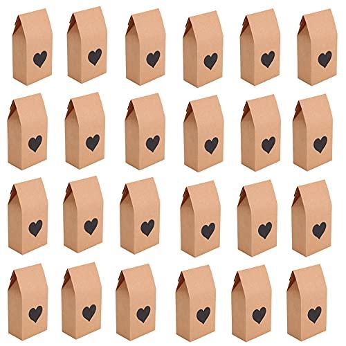 NASHRIO 24x Sacchetto Regalo Carta, Sacchetto di Carta per Alimenti, Art & Craft DIY Borse Carta Kraft, Sacchetti di Carta Kraft per attività per Bambini 8 x 15.5 x 5cm
