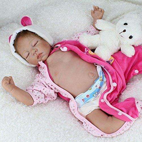 Nicery Reborn Baby Bambino Reborn Bambola Morbido Silicone Vinile 22 Pollici 55 Centimetri Magnetica Bocca Realistica Della Ragazza Del Giocattolo Rosa Dormire Occhi Orso 93EXA1IT