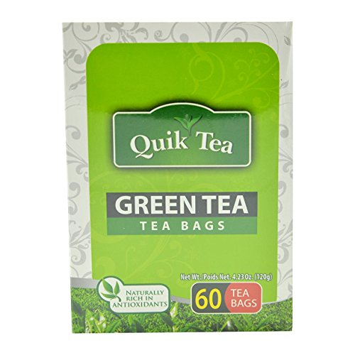 Quik Tea Green Tea with Lemon Teabags Made from Assam Teas All Natural No Preservatives Brand New Flavor 60 Teabags (120 g / 4.23 oz)