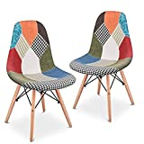 Mc Haus Sena Patchwork Verde X2 Pack 2 sillas, Madera, 49x46x84cm