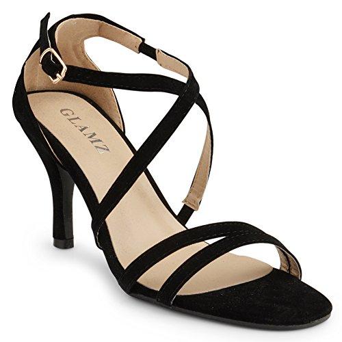 Glamz, sandali da donna con tacco basso e cinturino incrociato per feste, matrimoni, balli studenteschi, Nero