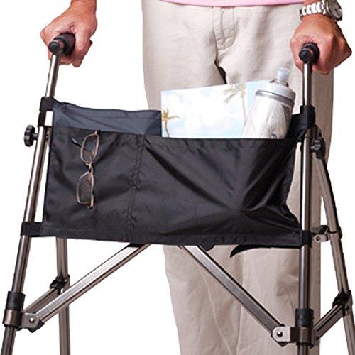 Stander 2-Pocket Organizer Pouch, Replacement Travel Bag, for EZ Fold-N-Go Walker & Rollator, Able Life Space Saver Walker, Black