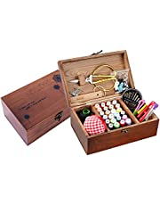 Sewing Kit Box Basket Wooden Hand Home Sewing Repair Tool Kit Portable Basic Sewing Kits Quick Fixes Travel Sewing Kit with Multiple Color Threads for Women Men Adults Girls Kids