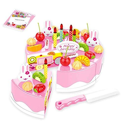 Fnsky 38 piezas/54 piezas/75 piezas de pastel de cumpleaños DIY modelo niños niños niños educativos tempranos juego de fingir comida comida juguetes de plástico