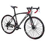 Eurobike XC550 Road Bike 21 Speed 49 cm Frame 700C L Wheels Road Bicycle Dual Disc Brake Bicycle Black-White 30