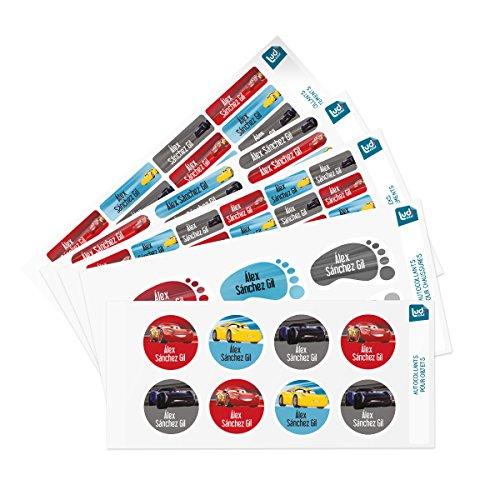 Ludilabel - Pack de etiquetas adhesivas y termoadhesivas personalizadas para el colegio - Cars 3