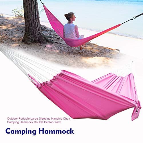 Amusingtao Camping Hammock Hanging Chair Large Travel Comfort Lightweight Double Person Swing Outdoor Portable Sleeping With Storage Bag Indoor Garden Yard(Pink)