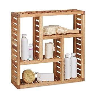 Foto di Relaxdays 10020647 Mensola da Parete per Bagno, Legno, Marrone, 15x50x50 cm