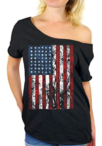 Awkwardstyles American Flag Distressed Off Shoulder Tops T-Shirt + Bookmark M Black
