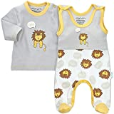 Baby Sweets 2er Baby-Strampler-Set mit Strampler & Shirt für Mädchen & Jungen/Baby-Erstausstattung in Grau-Gelb im Löwen-Motiv als Babykleidung/Baby-Outfit Bio-Baumwolle/Größe: 0-3 Monate (62)